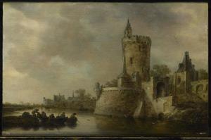 Rivierlandschap met een toren en bolwerk