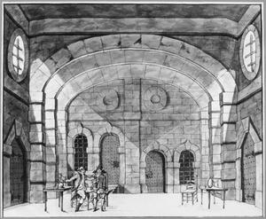 Scène uit het zangspel 'De deserteur' door Michel Sedaine, in het door Pieter Barbiers in 1774 voor de Amsterdamse Stadsschouwburg ontworpen decor