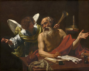 De heilige Hieronymus en de engel die het Laatste Oordeel aankondigt