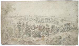 Panoramalandschap met landhuis in het geboomte