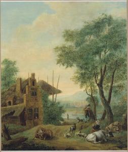 Landschap met een boerderij, herders en vee bij een rivier