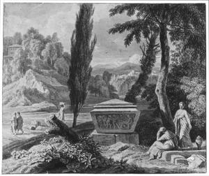 Heuvelachtig landschap met figuren bij een sarcofaag