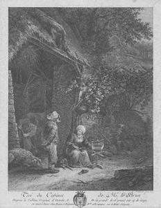 Zittende vrouw met spinrok voor een stal