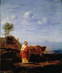 Vrouw met vee op een weg
