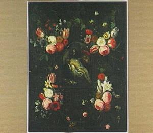 Bloemen rond een Bewening in een stenen cartouche