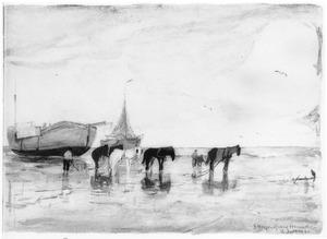 Strandgezicht met bomschuiten die door paarden op het strand worden getrokken