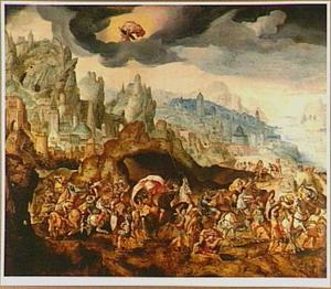 Berglandschap met de bekering van Paulus op weg naar Damascus