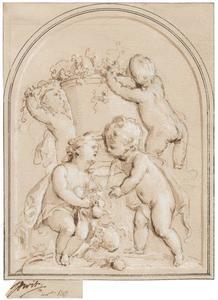 Vier putti rond een vaas met vruchten (allegorie van de herfst?)