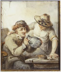 Aan tafel zittende man met drinkkan en vrouw in interieur