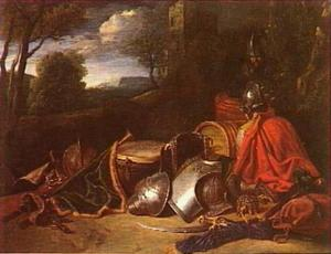Twee rustende soldaten en een stilleven van wapengerei in een landschap