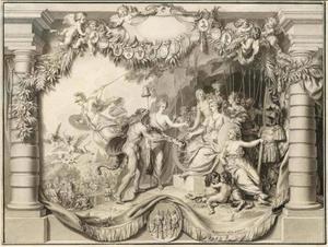 De goden betonen hun hulde aan Helvetia en verjagen demonen, in de achtergrond Wilhelm Tell met de appel op zijn hoofd