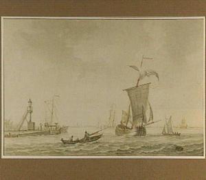 Schepen buiten de haven van Vlaardingen; op de achtergrond Schiedam