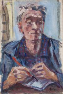 Zelfportret Fiedler met tekenpen