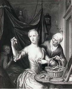 Een jonge vrouw, die een oorbel bekijkt, die haar door een oude vrouw te koop wordt aangeboden