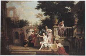 Batseba door David vanaf zijn paleis bij het baden bespied (2 Samuel 11:2)