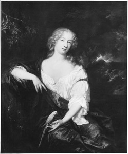 Portret van een jonge vrouw met een parelsnoer door het haar gevlochten en een parkiet op de linkerhand