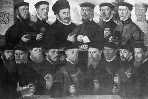 Zestien Amsterdamse schutters behorende tot Rot B van de Kloveniersdoelen, Amsterdam, 1556