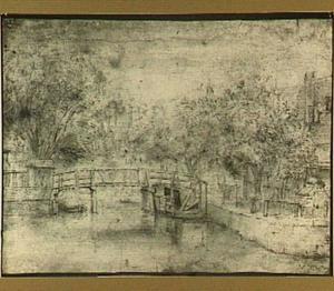 Kanaal met houten brug