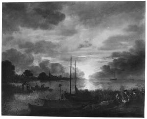 Nachtelijk rivierlandschap met figuren rond een kampvuur