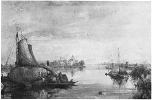 Rivierlandschap met zicht op Dordrecht