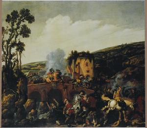 Ruitergevecht bij een brug in een heuvellandschap