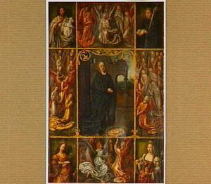 De aanbidding van het Christuskind door Maria omgeven door engelen en de HH. Johannes de Doper, Benedictus, Catharina en Maria Magdalena
