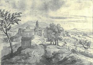 Italiaans heuvellandsschap met een stad in de achtergrond