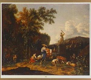 Zuidelijk landschap met herders en vee bij een fontein