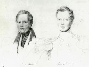 Dubbelportret van de prinsen Alexander (1818-1848) en Hendrik (1820-1879) van Oranje-Nassau
