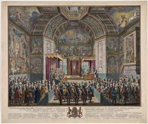 Inhuldiging van Willem V, prins van Oranje, tot Ridder in de Orde van de Kousenband in 1752