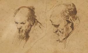 Twee studies van het hoofd van een oude man
