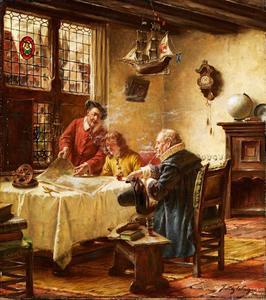 Drie mannen aan een tafel met een zeekaart