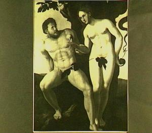 De zondeval:Eva biedt  Adam het fruit aan  (Genesis 3:6)