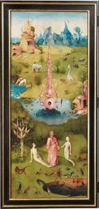 God de Vader brengt Eva in het aards paradijs tot Adam: de instelling van het huwelijk (Genesis 2)
