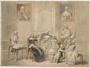 Groepsportret van de kinderen van Pieter Cornelis Hasselaer (1720-1795) met hun grootmoeder Wendela Eleonora Reael (1688-1768)