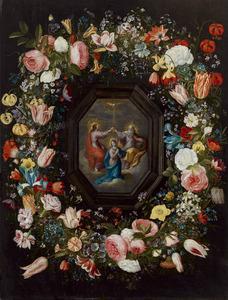 Bloemenkrans rond een kroning van Maria