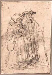 Lopende oude man met stok en vrouw met mand