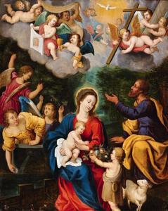 De Heilige Familie met Johannes de Doper en engelen