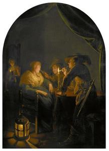 Slapende vrouw geplaagd door twee soldaten