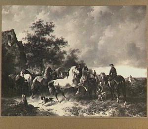Paarden, huifkarren en figuren in een landschap