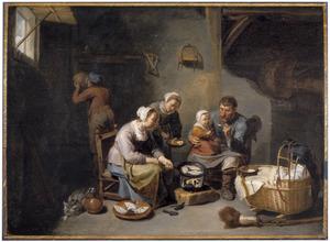 Boerenfamilie aan de maaltijd