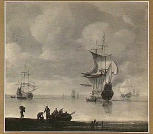Hollands schip lost een saluutschot voor de kust