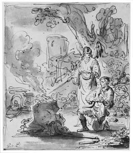 De Engel des Heeren doet het offer van Gideon ontbranden (Rechters 6:21)