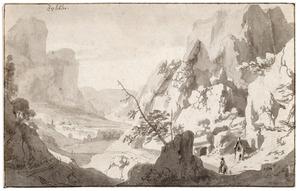 Panoramisch berglandschap met een kapelletje en de ingang van een grot