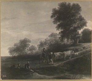 Landschap met veedrijver en ruiter op een weg