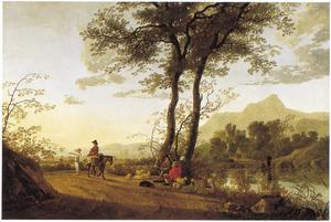 Landschap met ezelrijder en herders op een weg langs een rivier