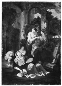 Allegorische voorstelling van het verval van de beeldhouw- en schilderkunst