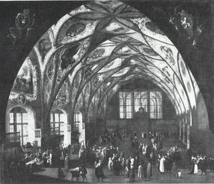 Interieur van de Vladislav Zaal in de Praagse Burcht tijdens de Jaarmarkt
