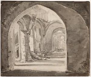 Interieur van een middeleeuwse ruïne