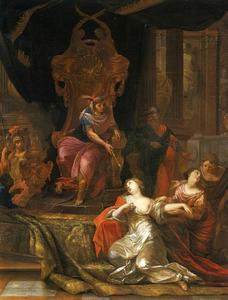 Ester bezwijmt voor  Ahasveros (Ester Apocrief 15:7)